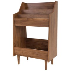 2 Bay Luxe Record Stand in Natural Walnut