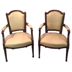 2 Beautiful Armchairs in Louis Seize Style Walnut Louis XVI
