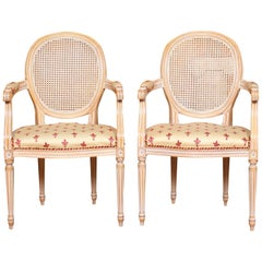 2 Bergère Chairs Armchairs Carved Limed Elbow Continental Tub Chairs