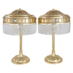 2 Big Jugendstil Table Lamps with Opaline Glass Stones, Vienna, circa 1908