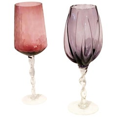 2 Blown Pink & Purple Over-Sized Glass Brandy Snifters/Vases with Braided Stems