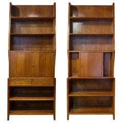 2 Bookcases Mid-Century Modern in Gio Ponti Style 1950s Italy