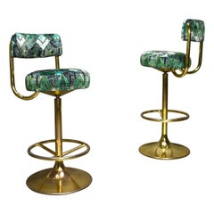 2 Börje Johanson Swivel Bar Stools in Brass, Italy, circa 1960