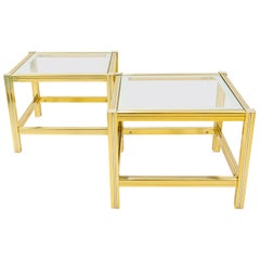 2 Brass and Glass Side Tables, France, 1970s
