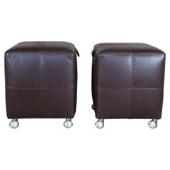 2 Brown Leather Baker Furniture Rolling Stools Ottoman Footrest Pouf Seat