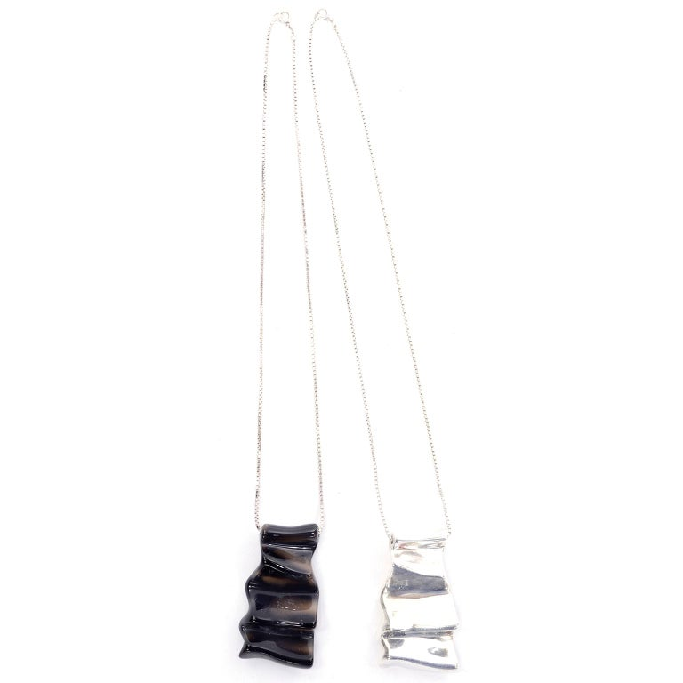 2 Brusca Dante Modernist Sterling Silver & Molded Glass Signed Pendant Necklaces In Good Condition For Sale In Portland, OR