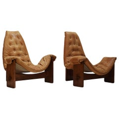 2 Brutalist Oak and Cognac Leather Easy Chairs, 1970s