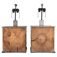 2 CABO Lamps by Laura Hunt, Solid Wood and Stainless