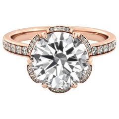 2 Carat 14 Karat Rose Gold Round Diamond Ring, Flower Diamond Halo Ring