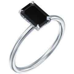 2 Carat 14 Karat White Gold Certified Emerald Black Diamond Engagement Ring