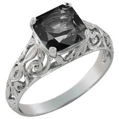 2 Carat 14 Karat White Gold Cushion Black Diamond Engagement Ring