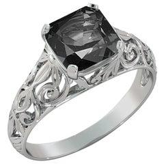 2 Carat 14 Karat White Gold Cushion Black Diamond Engagement Ring