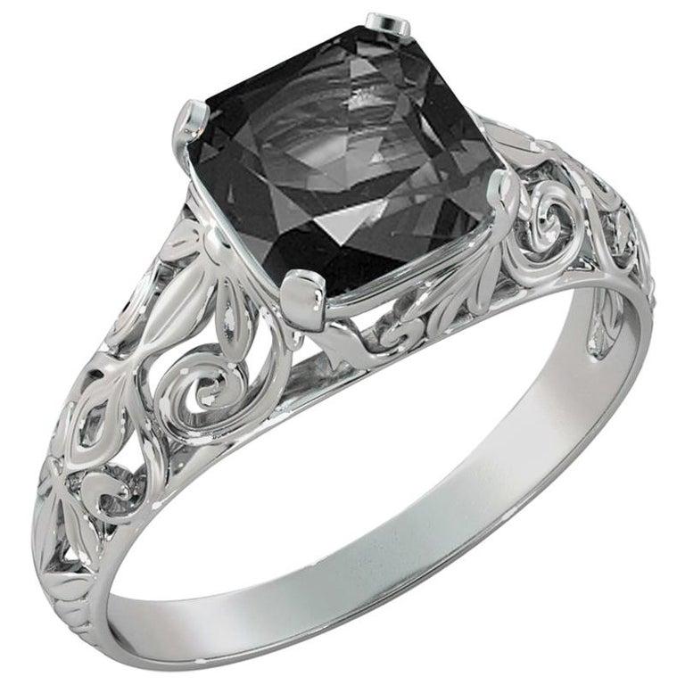 2 Carat 14 Karat White Gold Cushion Black Diamond Engagement Ring For Sale
