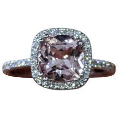 2 Carat 14 Karat White Gold Cushion Morganite Vintage Engagement Ring