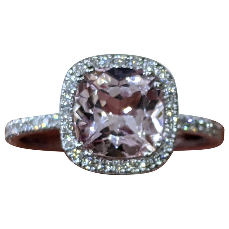 2 Carat 14 Karat White Gold Cushion Morganite Vintage Engagement Ring For Sale