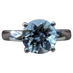 2 Carat 14 Karat White Gold Round Aquamarine Diamond Engagement Ring
