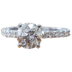 2 Carat 14 Karat White Gold Round Diamond Ring, Vintage Style Diamond Ring