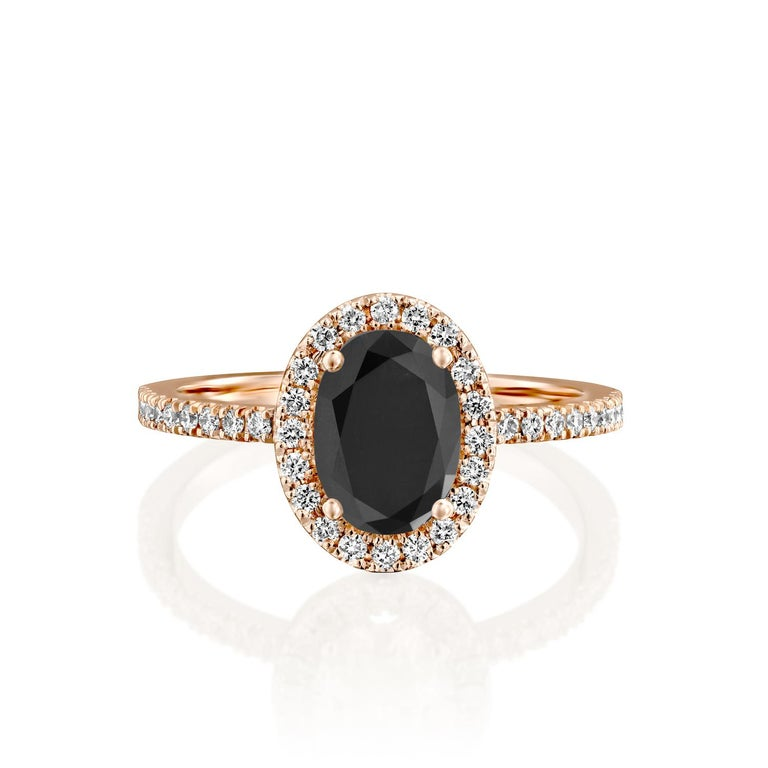 Beautiful solitaire with accents vintage style diamond engagement ring. Center stone is natural, oval shaped, AAA quality Black Diamond of 1.5 carat and it is surrounded by smaller natural diamonds approx. 0.5 total carat weight. The total carat