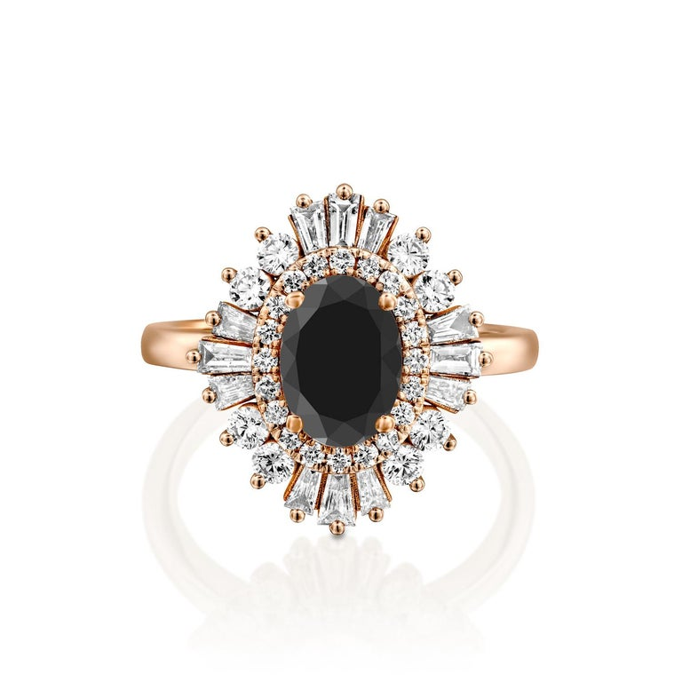 Beautiful solitaire with accents Victorian style diamond engagement ring. Center stone is natural, round shaped, AAA quality Black Diamond of 1 carat and it is surrounded by smaller natural diamonds approx. 1 total carat weight. The total carat