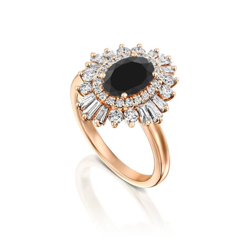 Art Deco 2 Carat 14 Karat Rose Gold Certified Oval Black Diamond Engagement Ring For Sale