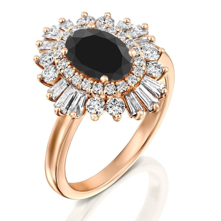 Oval Cut 2 Carat 14 Karat Rose Gold Certified Oval Black Diamond Engagement Ring For Sale