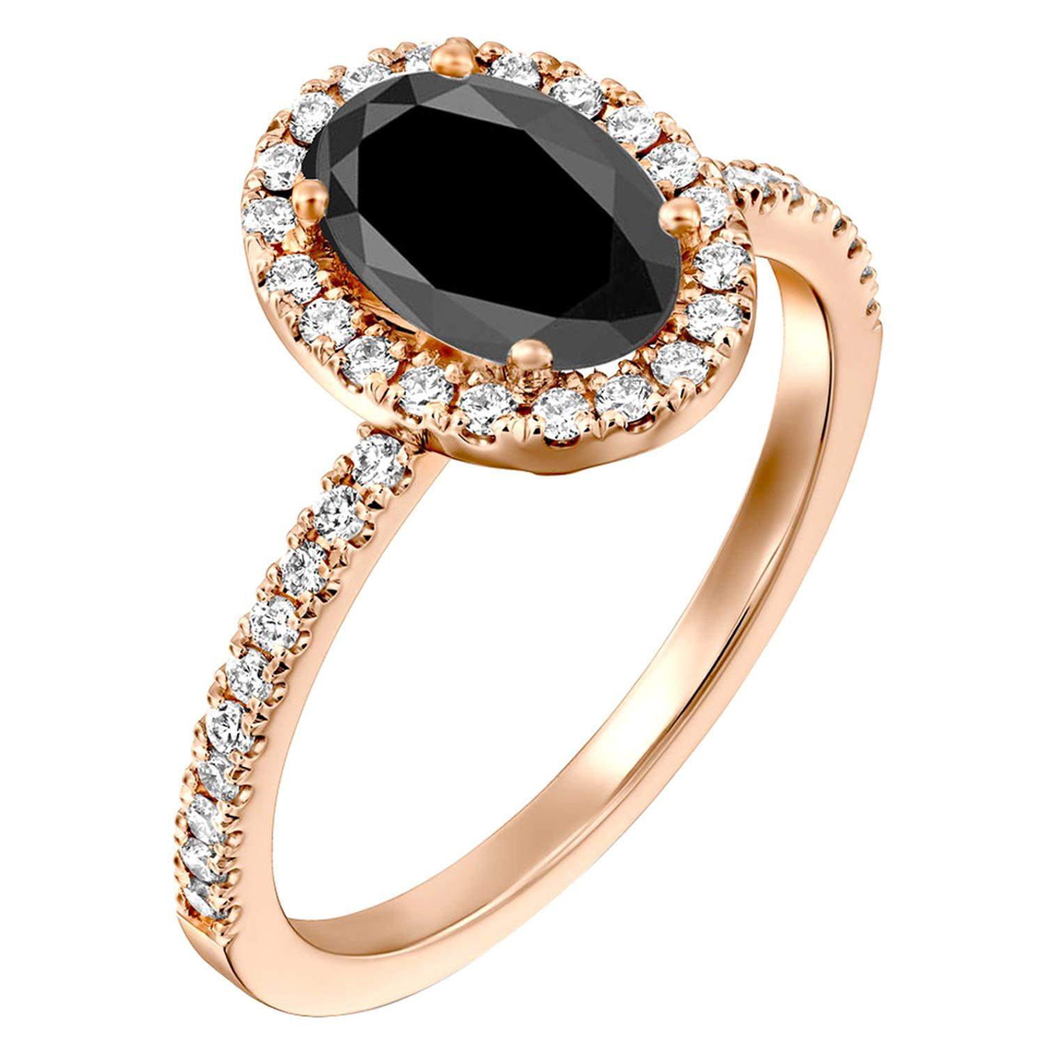 2 Carat 14 Karat Rose Gold Certified Oval Black Diamond Engagement Ring