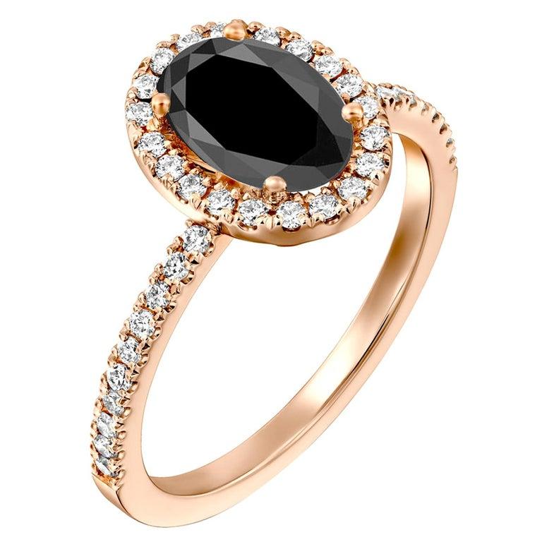 2 Carat 14 Karat Rose Gold Certified Oval Black Diamond Engagement Ring For Sale