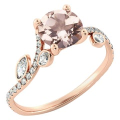 2 Carat 14 Karat Rose Gold Morganite and Diamonds Round Engagement Ring