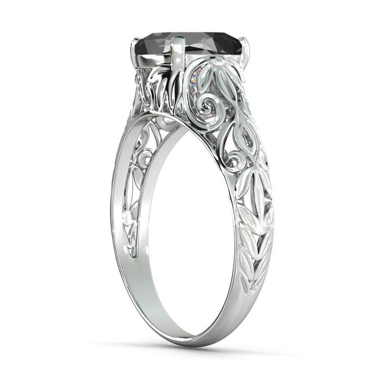 Art Deco 2 Carat 14 Karat White Gold Cushion Black Diamond Engagement Ring For Sale