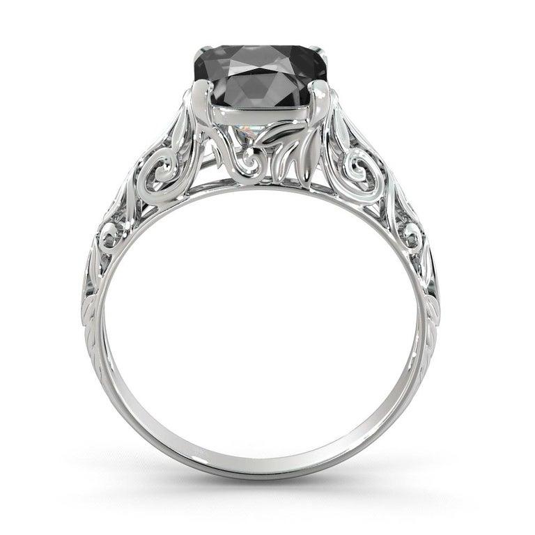 Cushion Cut 2 Carat 14 Karat White Gold Cushion Black Diamond Engagement Ring For Sale