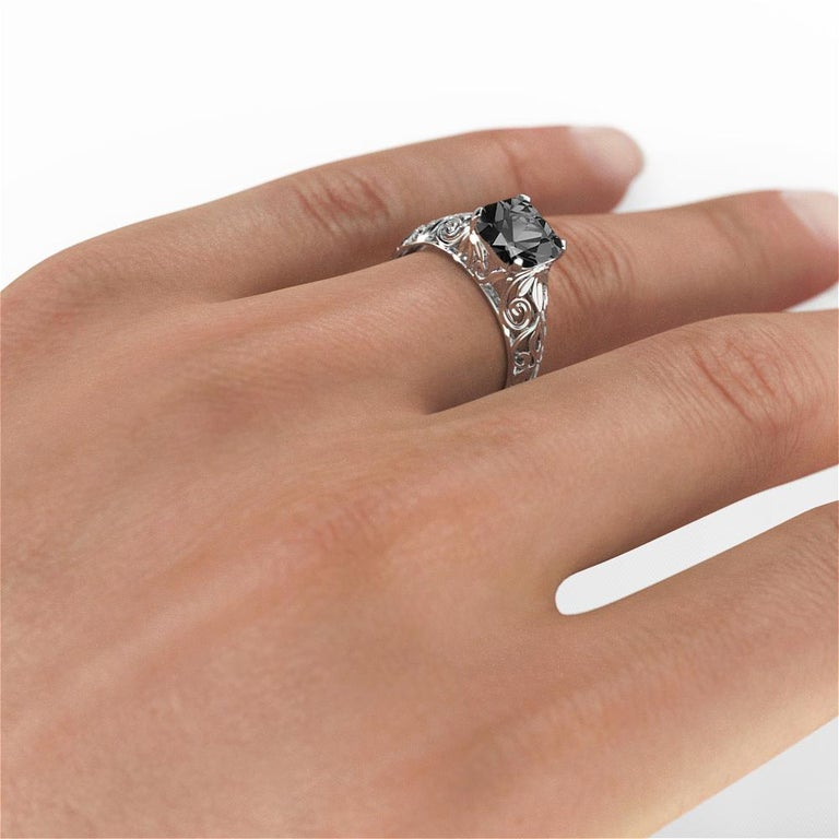 2 Carat 14 Karat White Gold Cushion Black Diamond Engagement Ring In New Condition For Sale In New York, NY