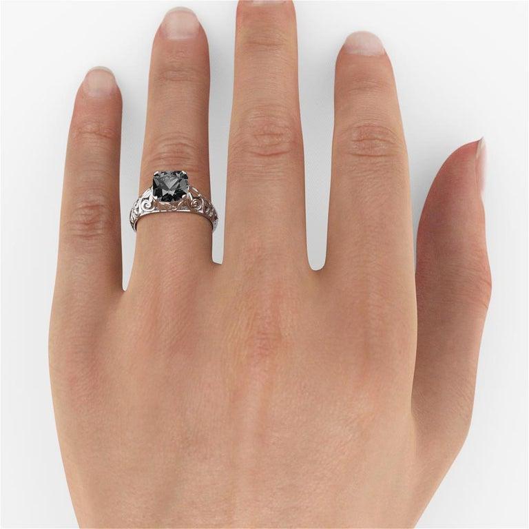 Women's 2 Carat 14 Karat White Gold Cushion Black Diamond Engagement Ring For Sale
