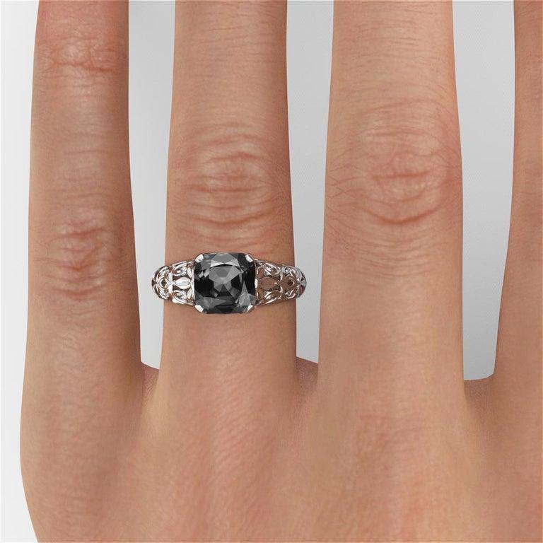 2 Carat 14 Karat White Gold Cushion Black Diamond Engagement Ring For Sale 1