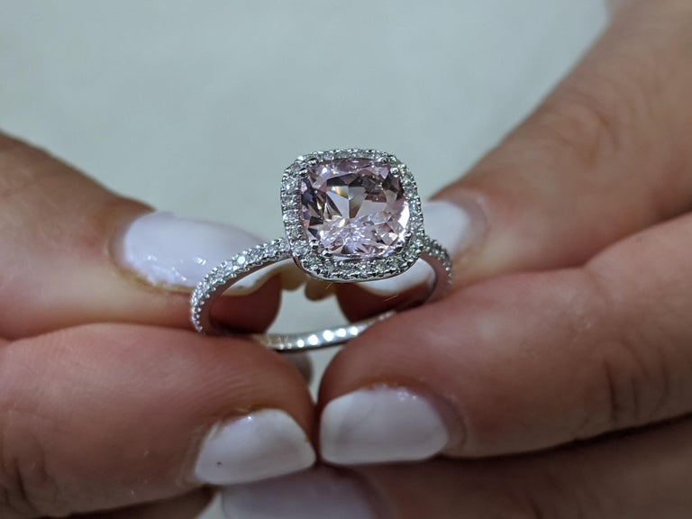 One of a kind 2 Carat Morganite and Diamonds Engagement Ring - An amazing 7.5mm pink/peach natural cushion morganite gemstone, adorned by 1/2ctw of white natural diamonds - this ring is a great diamond alternative ring that will draw attention