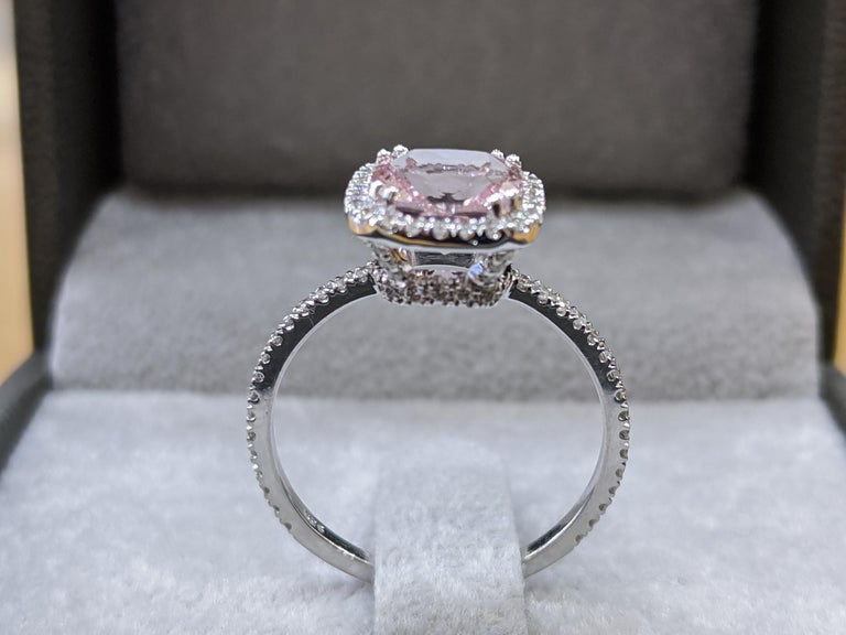 Art Deco 2 Carat 14 Karat White Gold Cushion Morganite Vintage Engagement Ring For Sale