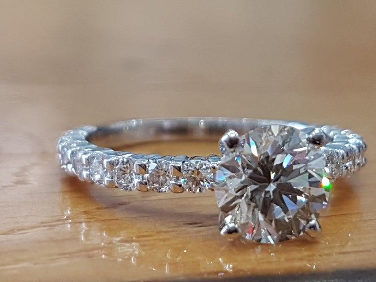 Art Deco 2 Carat 14 Karat White Gold Round Diamond Ring, Vintage Style Diamond Ring For Sale