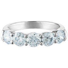 2 Carat 5-Stone, Platinum, Diamond Band, I Color, VS2 Clarity