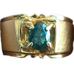 2 Carat Approximate Oval Blue Zircon in 14 Karat Gold Men's Ring, Ben Dannie