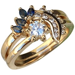 2 Carat Approximate Round Diamond and Sapphire Ring-Ben Dannie