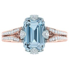 2 Carat Aquamarine and Diamond Rose Gold Platinum Ring