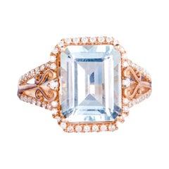 2 Carat Aquamarine Ring 14 Karat Rose Gold
