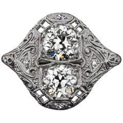 2 Carat Authentic Art Deco Diamond Platinum Ring