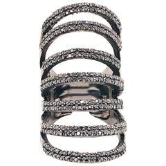2 Carat Black Diamond Wide Ring Black Rhodium Sterling Layered Finger Armor Ring
