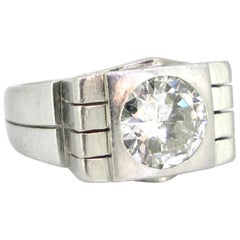 2 Carat Brilliant Cut Diamond Geometric Platinum Signet Solitaire Ring