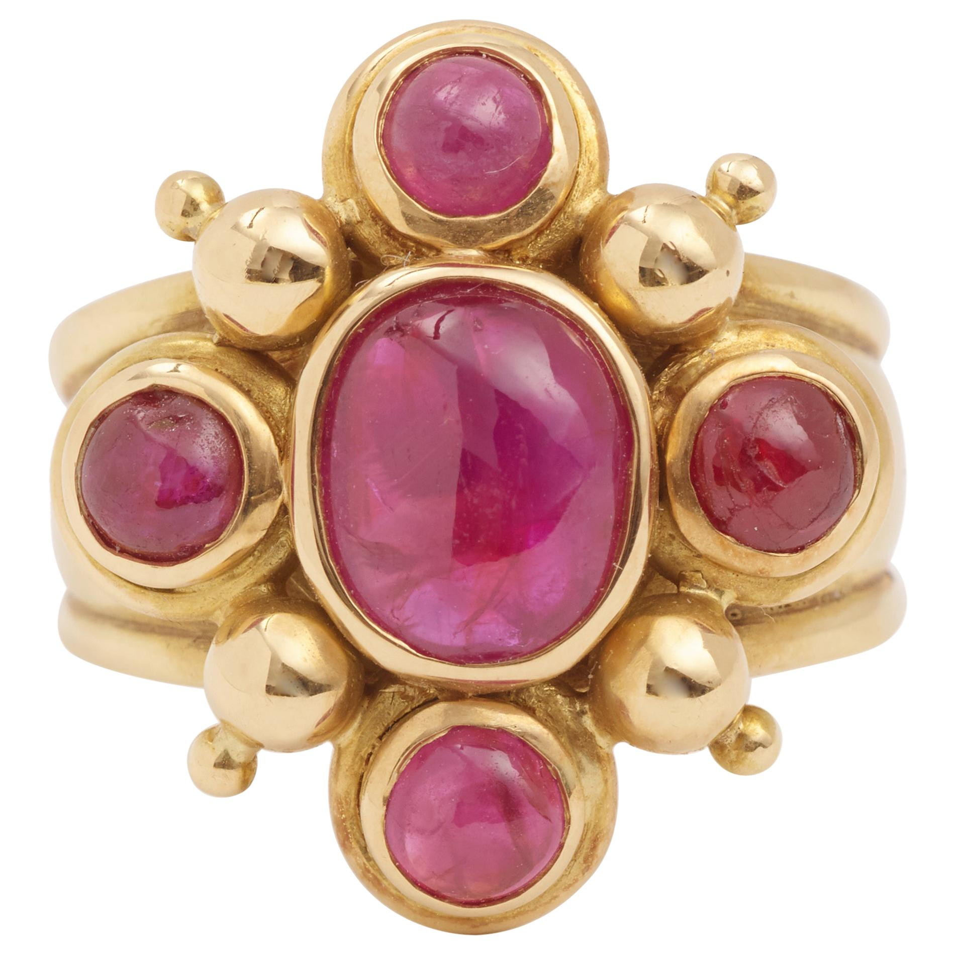 2 Carat Cabochon Rubies 18 Carat Yellow Gold Ring
