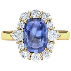 2 Carat Ceylon Sapphire Cushion Diamond Cocktail Ring