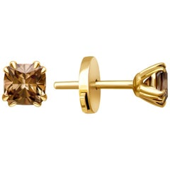 2 Carat Cognac Diamond 14 Karat Yellow Gold Stud Earrings