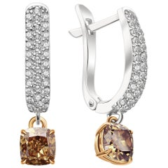 2 Carat Cognac Diamond and White Diamonds 14 Karat White Gold Earrings