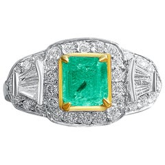 2 Carat Colombian Emerald, Baguette-Cut Diamonds, and 18 Karat White Gold Ring