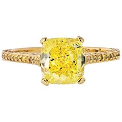 2 Carat Cushion Cut Diamond Fancy Intense Yellow GIA Engagement Ring